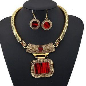 Red Gem Necklace Set
